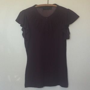 THE LIMITED Wine Sheer Net Babydoll Top M EUC